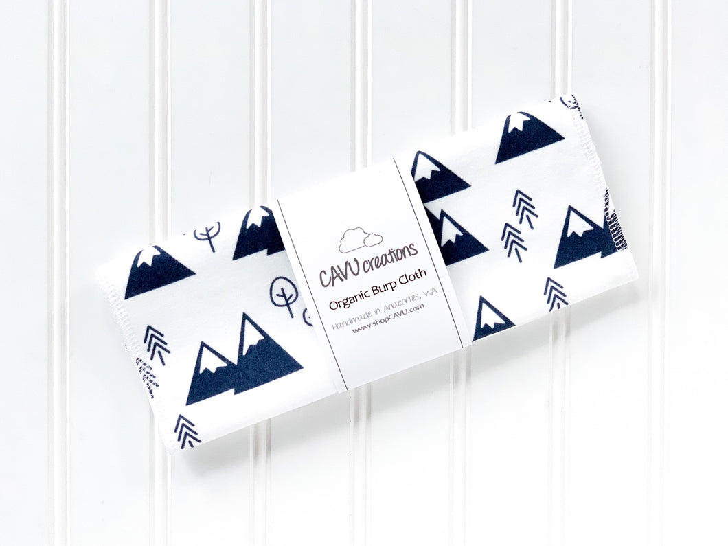 Mountains + Trees Organic Burp Cloth - Navy Blue / White - CAVU Creations
