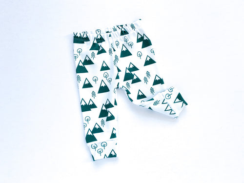 Mountains + Trees Organic Baby Leggings - Forest Green / White - CAVU Creations