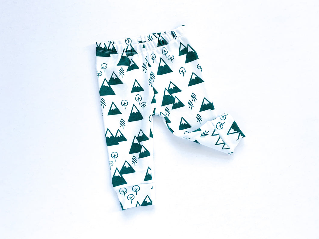 Mountains + Trees Organic Baby Leggings - Forest Green / White - ARCHIVE - CAVU Creations
