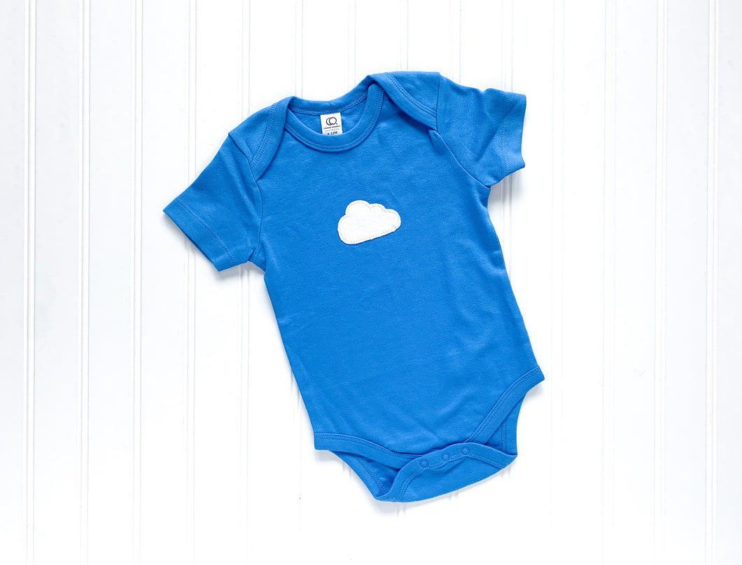 Cloud Organic Bodysuit - Blueberry Blue / White (Short) - CAVU Creations