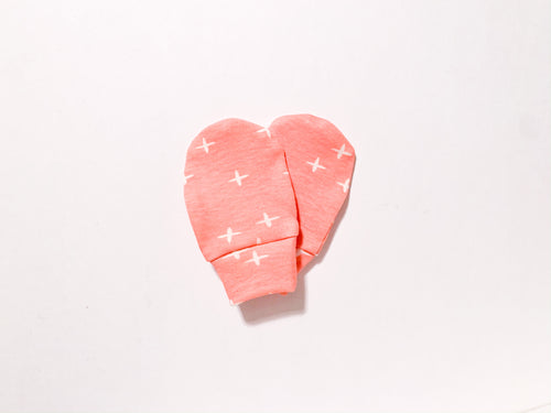 Plus Signs (Wink) Organic Newborn Mittens - Pink / White - CAVU Creations