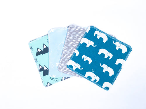 Animals + Adventure Organic Reusable Wipes (Set of 4) - Cool Colors