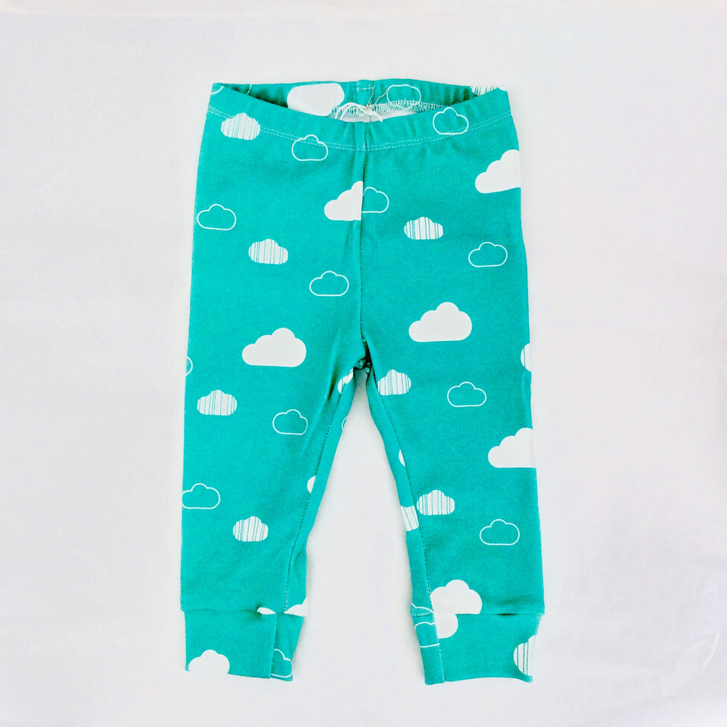Clouds Organic Baby Leggings - White / Teal - CAVU Creations