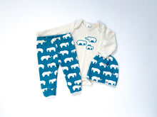 Elephants Organic Bodysuit - Cream / Teal - CAVU Creations