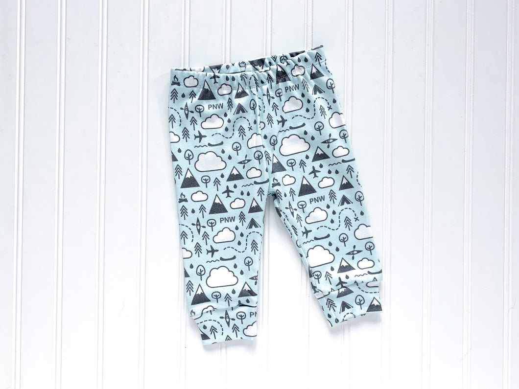 PNW Love Organic Baby Leggings - Charcoal Gray / White / Mint - CAVU Creations