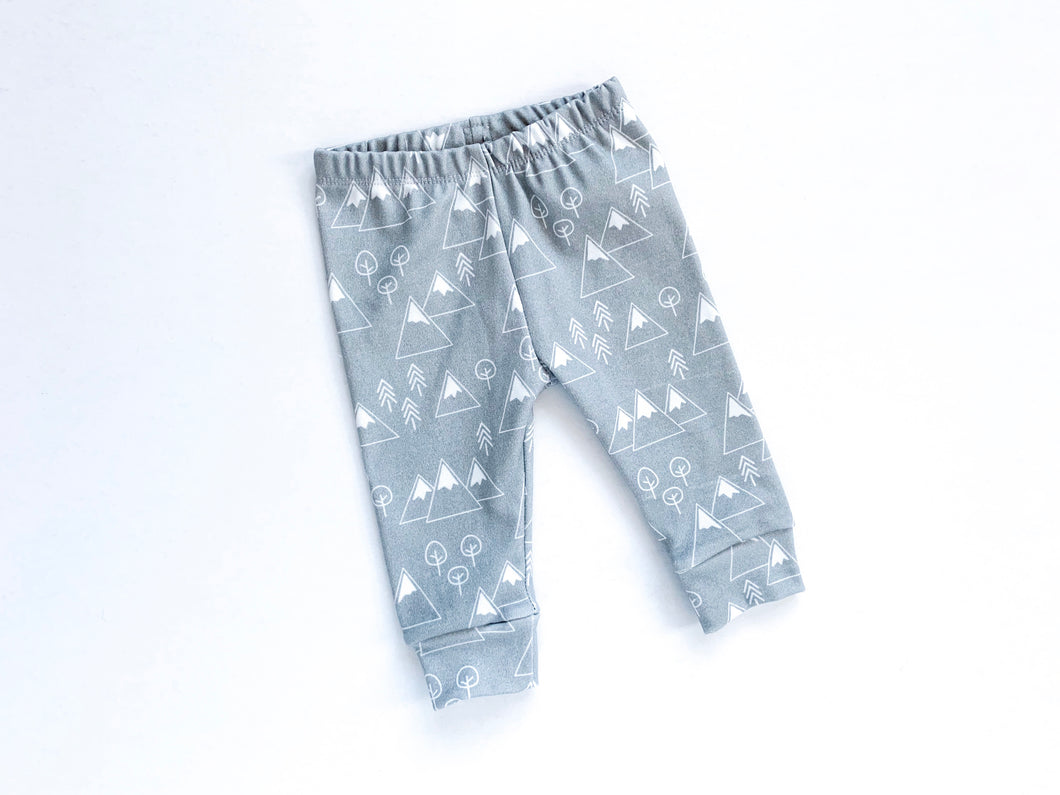 Mountains + Trees Organic Baby Leggings - White / Gray - CAVU Creations