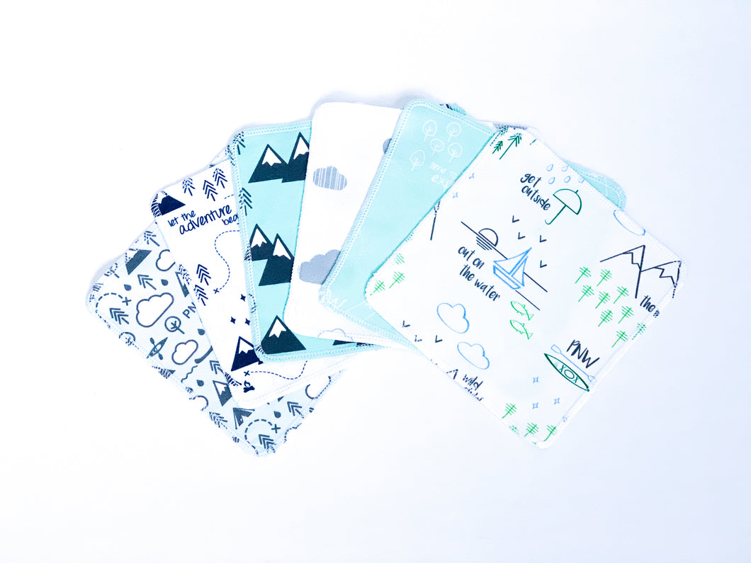 PNW Mix Organic Reusable Wipes (Set of 6) - Greens / Blue / Mint / Grays