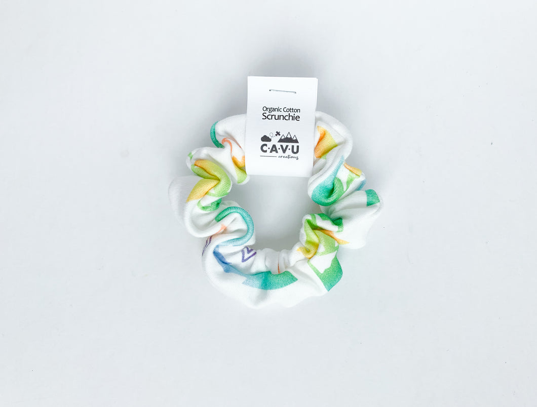 Organic Cotton Scrunchie - Mountains + Trees - Rainbow Prismatic