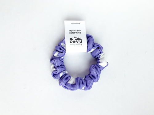 Organic Cotton Scrunchie - Jets in Clouds - Purple / White