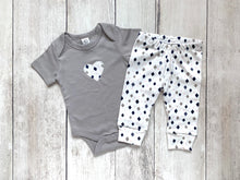 Heart Organic Bodysuit - Gray / White / Diamonds (Short)