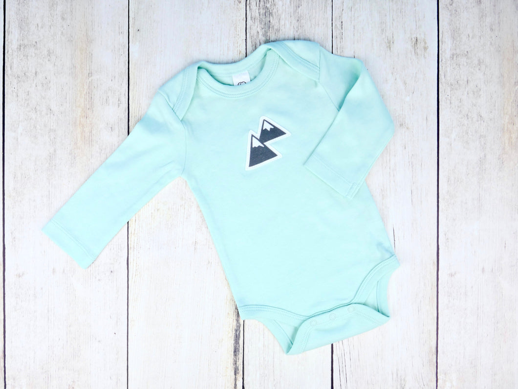 Mountains Organic Bodysuit - Mint / Charcoal Gray - CAVU Creations