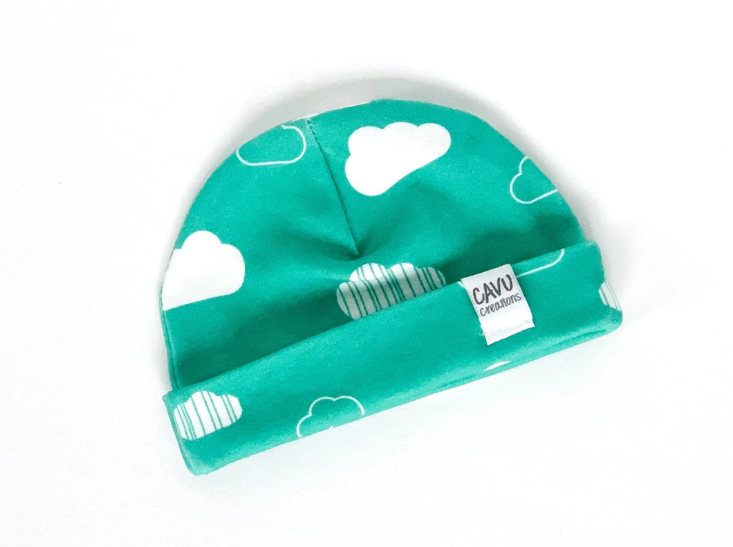 Clouds Organic Beanie - White / Teal - CAVU Creations