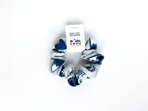 Organic Cotton Scrunchie - Mountains + Trees - Navy / Gray / White