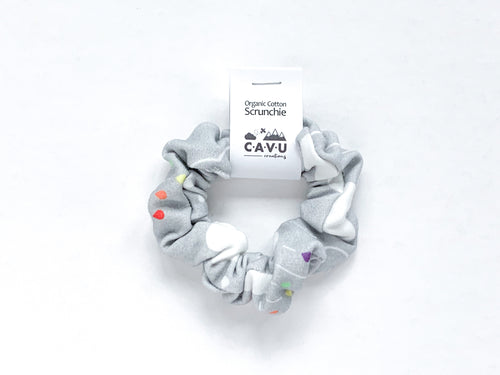 Organic Cotton Scrunchie - Rainbow Rain Clouds Gray - CAVU Creations