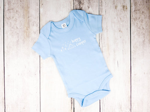 Happy Camper Organic Bodysuit - Sky Blue / White (Short) - CAVU Creations