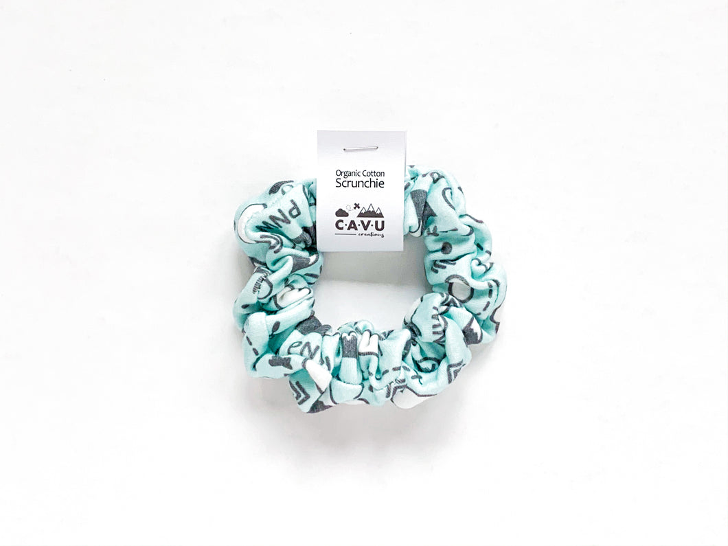 Organic Cotton Scrunchie - PNW Love - Charcoal / Mint - CAVU Creations