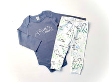 Wild Child Organic Bodysuit - Denim Blue / White