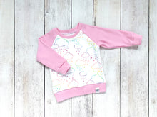 Rainbow Rain Clouds Organic Cotton Pullover - Pink / Rainbow / White - CAVU Creations