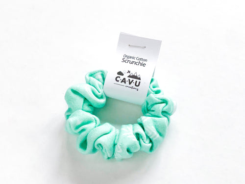 Organic Cotton Scrunchie - PNW - White / Mint - CAVU Creations