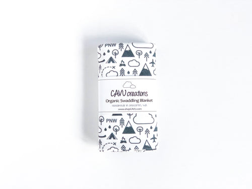 PNW Love Organic Swaddling Blanket - Charcoal Gray / White - CAVU Creations