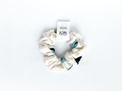 Organic Cotton Scrunchie - Pop Dots - Blues / Greige / Cream