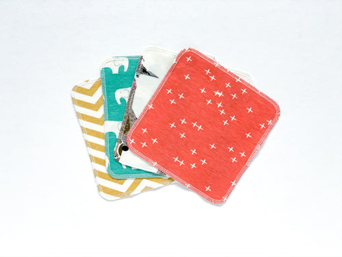Animals + Geometrics Organic Reusable Wipes (Set of 4) - Multi - CAVU Creations