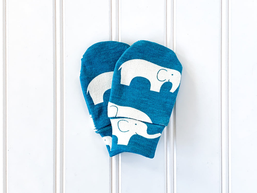 Elephants Organic Newborn Mittens - Cream / Teal - CAVU Creations