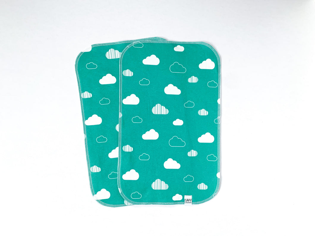 Clouds Organic Burp Cloths - White / Teal