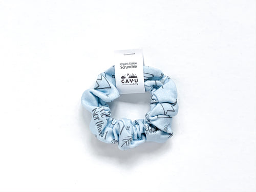 Organic Cotton Scrunchie - Perfectly PNW - Charcoal / Blue