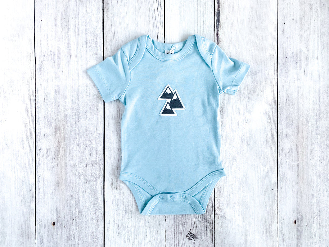 Mountains Organic Bodysuit - Sky Blue  / Charcoal Gray (Short) - CAVU Creations