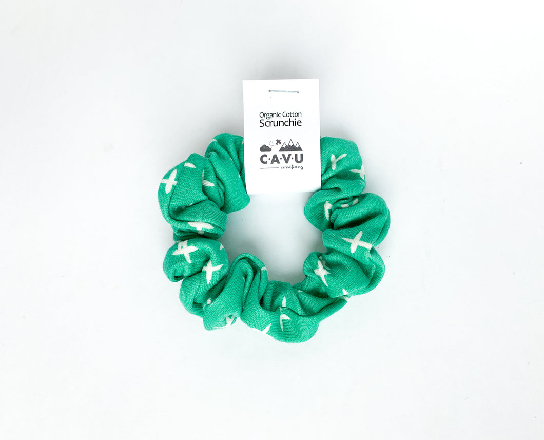 Organic Cotton Scrunchie - Plus Signs (Wink) - Green / White
