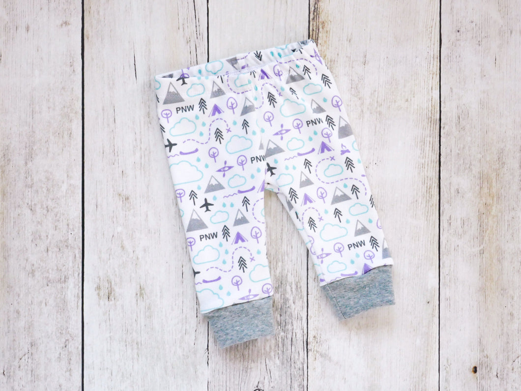 PNW Love Organic Baby Leggings - Purple / Mint / Grays / White - CAVU Creations