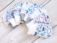 PNW Love Organic Newborn Mittens - Plum / Teals / White / Light Gray - CAVU Creations