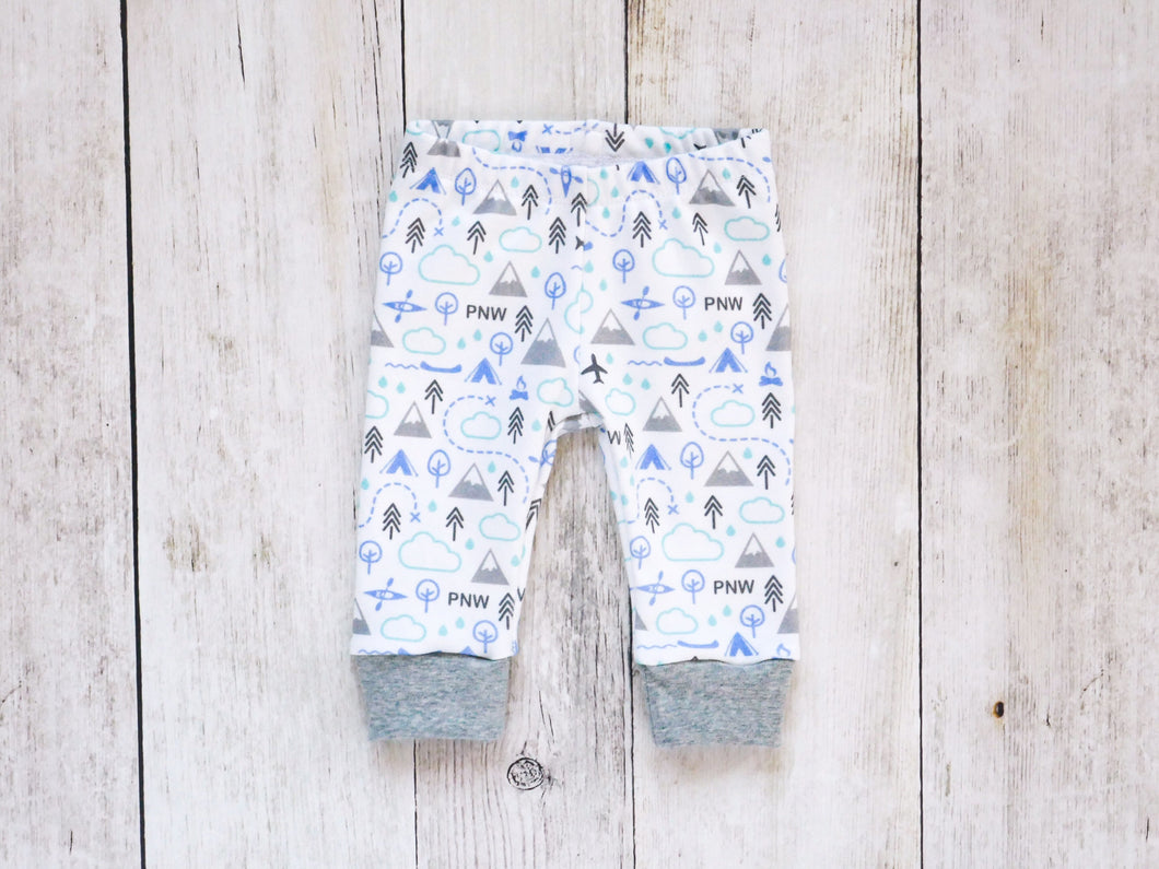PNW Love Organic Baby Leggings - Blue / Mint / Grays / White - CAVU Creations
