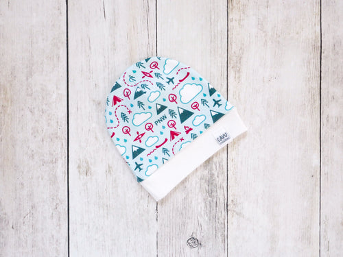 PNW Love Organic Beanie - Teal / Red / White / Mint - CAVU Creations