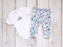 PNW Love Organic Baby Leggings - Plum / Teals / White / Light Gray - CAVU Creations