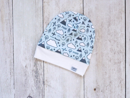 PNW Love Organic Beanie - Charcoal Gray / White / Mint - CAVU Creations