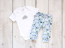 PNW Love Organic Baby Leggings - Teals / Blue / White / Light Gray - CAVU Creations