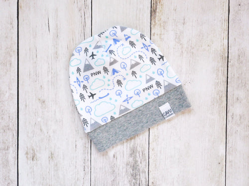 PNW Love Organic Beanie - Blue / Mint / Grays / White - CAVU Creations