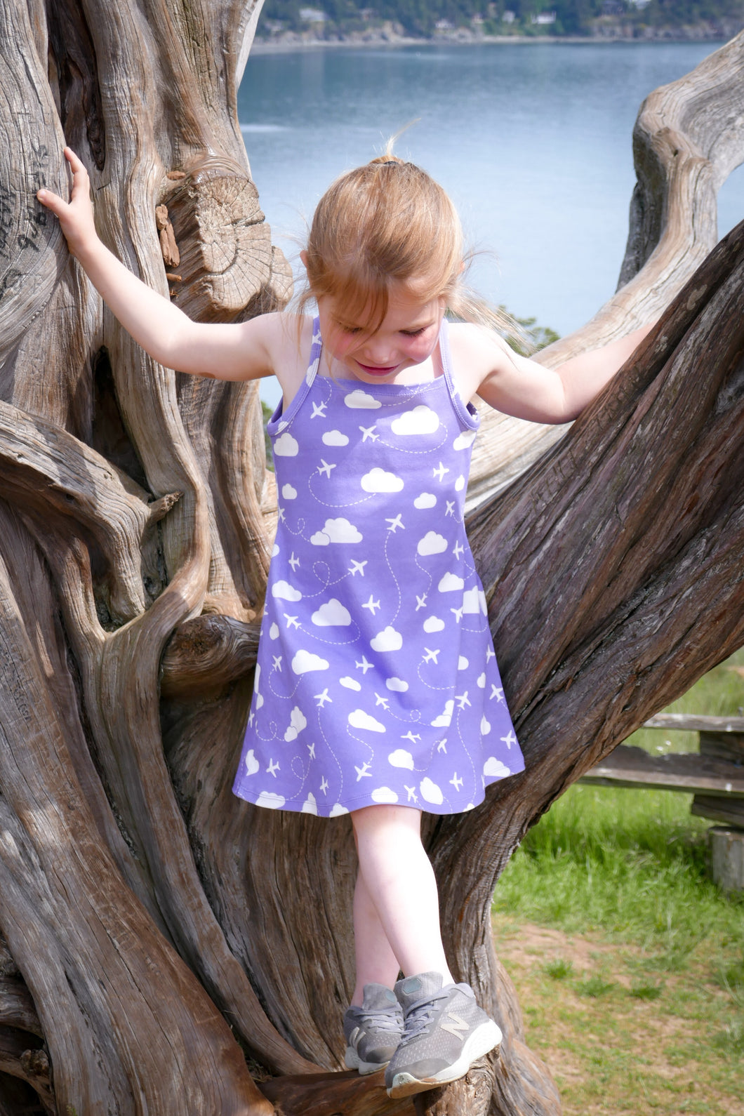 Jets in Clouds Sun Dress - White / Purple - CAVU Creations