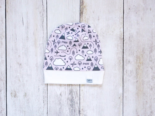 PNW Love Organic Beanie - Charcoal Gray / White / Pink - CAVU Creations