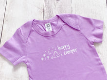 Happy Camper Organic Bodysuit - Light Purple / White (Short) - CAVU Creations