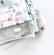 PNW Love Organic Beanie - Coral / Mint / Grays / White - CAVU Creations