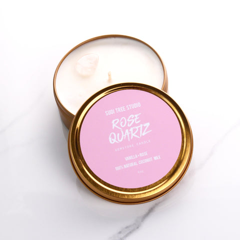 Rose Quartz Gemstone Candle