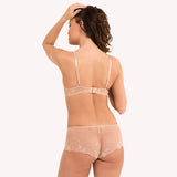 Boyshort Daily Lingadore blush shiny reflects floral lace back model