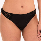 Brazilian Thong Pleasure Lingadore Black satin jacquard fabric front model