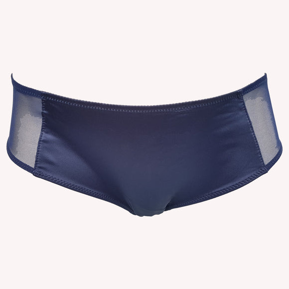front Hipster Fearless Lingadore blue night satin semi sheer mesh