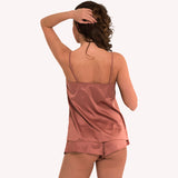 back model  Short Universe french knicker Lingadore soft satin warm copper shiny reflects