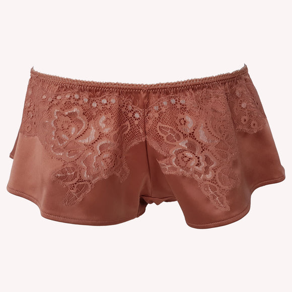 front Short Universe french knicker Lingadore soft satin warm copper floral lace shiny reflects