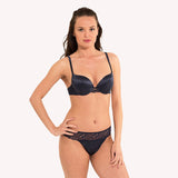front model  Thong Fearless blue night satin floral lace seam free